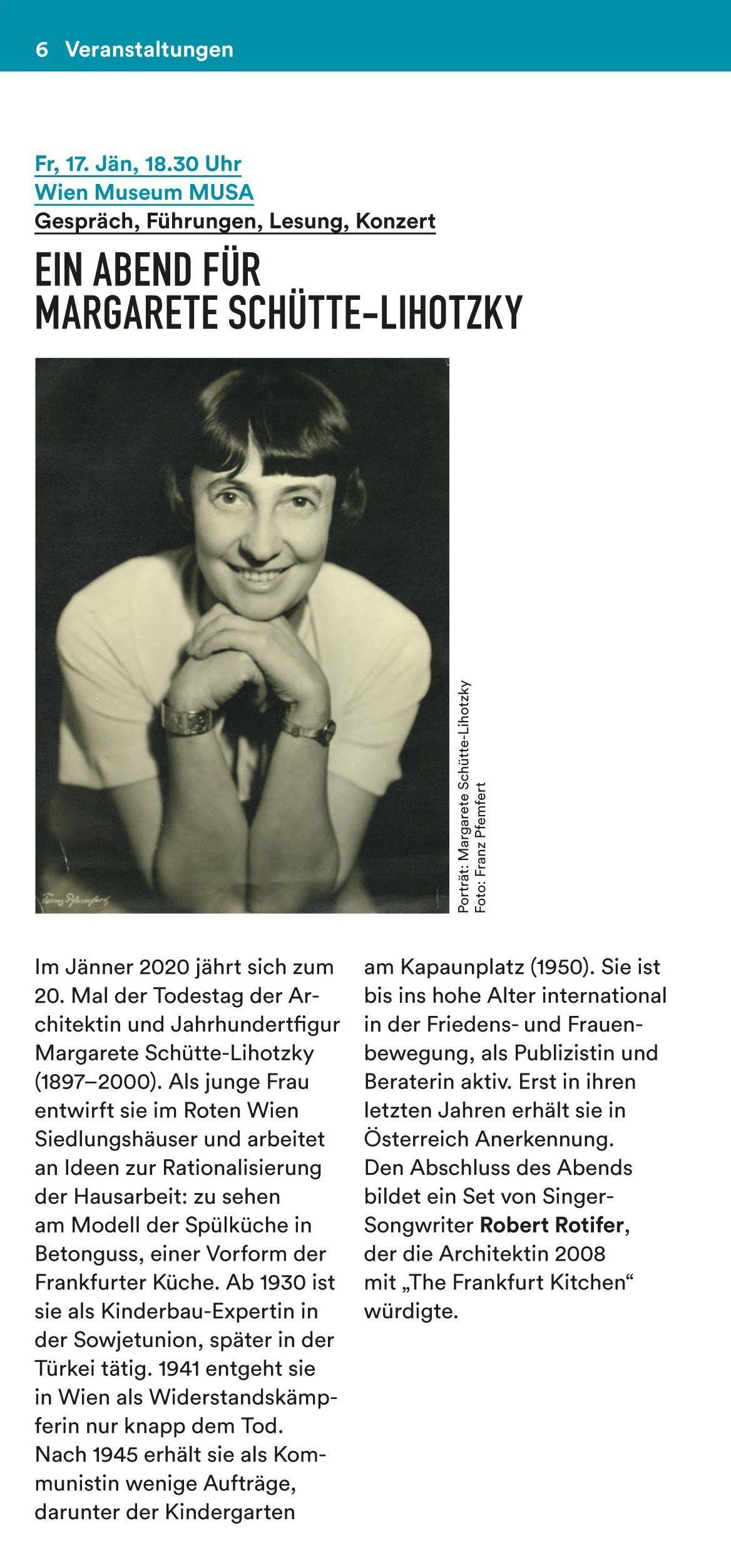 Ankündigung Schütte Lihotzky MUSA