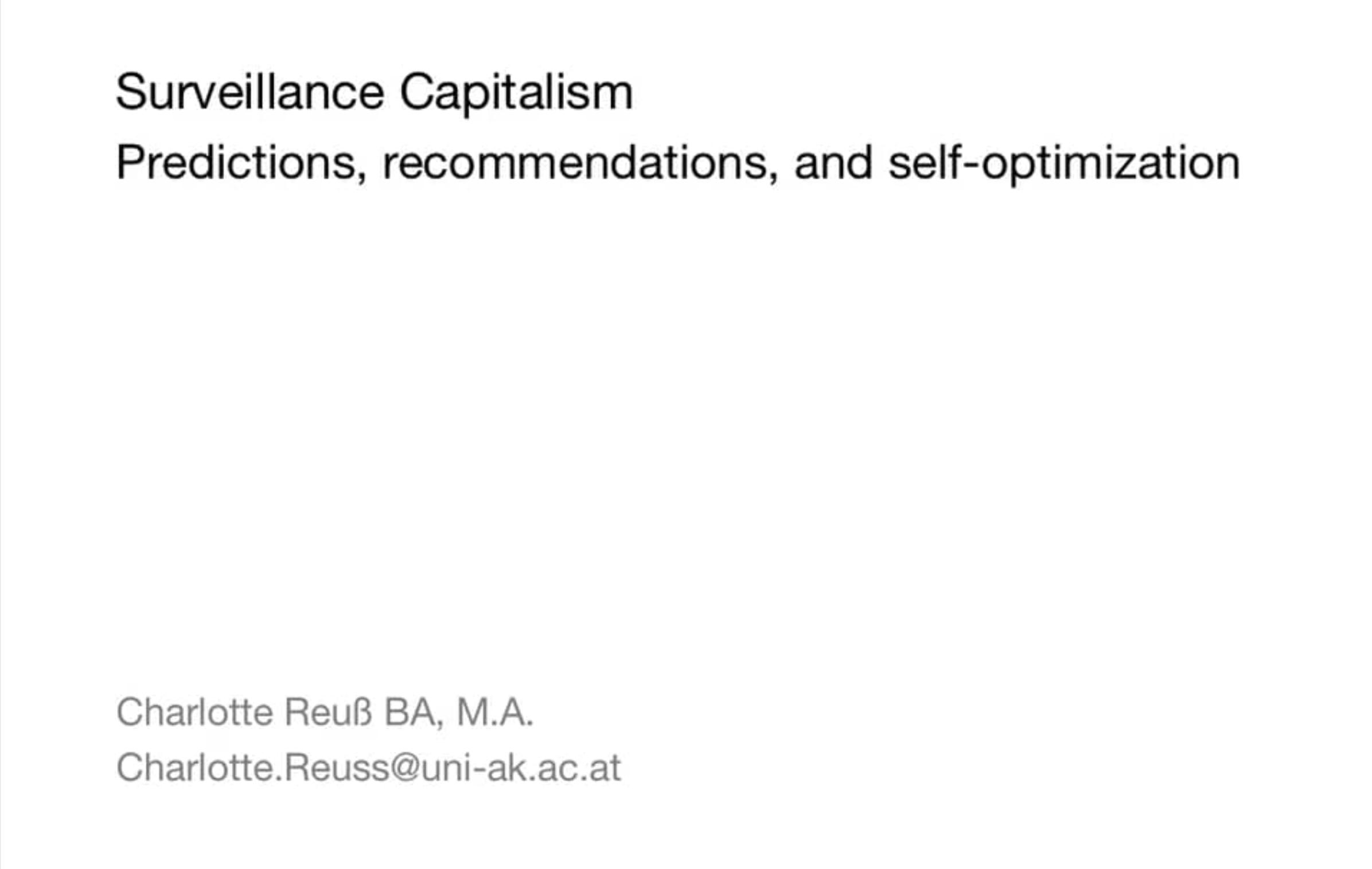 Charlotte Reuss Surveillance Capitalism