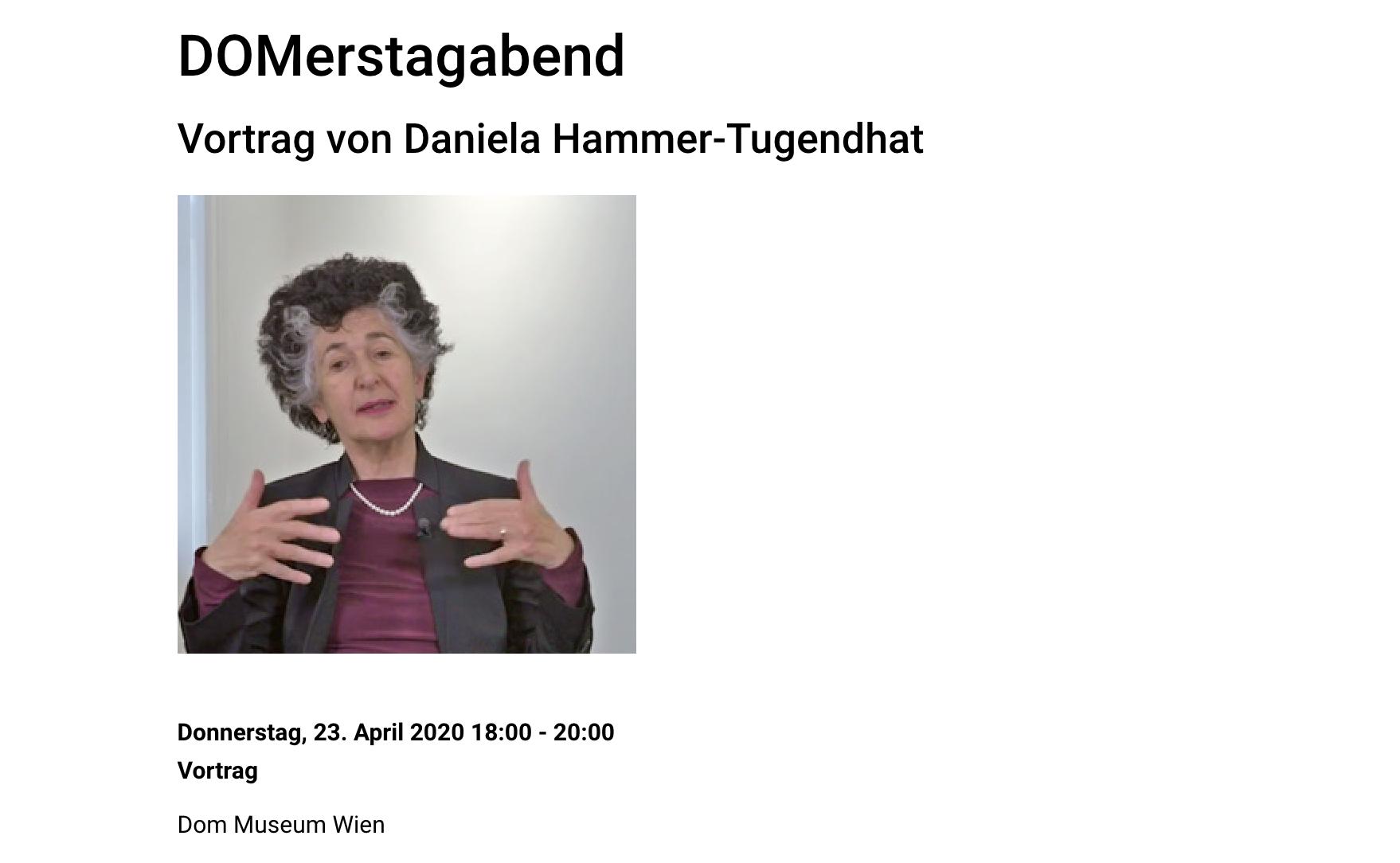 DO Merstagabend Vortrag von Daniela Hammer Tugendhat